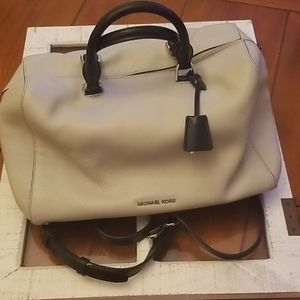 Michael Kors Cement & Black Satchel